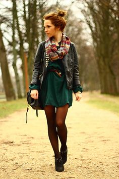Solid dress, leather jacket, braided belt, scarf, tights, black booties