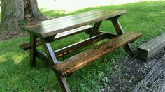 Childrens Wooden Picnic Table Made Using Reclaimed Wood
