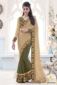 Rejoice this attire top chikoo olive lycra dhupion material bridal saree design for wedding in discount price deal. Grab most stylish Indian sarees from the collection at lowest rates. #saree, #designersaree more: http://www.pavitraa.in/store/designer-collection/
