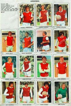 Arsenal stickers in 1970.