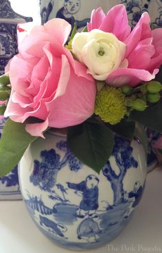 I love the contrast of the pink peony with the blue & white!!   The Pink Pagoda: Giveaway and Sale at TPP