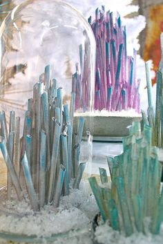 DIY Crystals...great activity for family or decoration for party.  I immediately thought of the emerald city and though this would be great for a Wizard of Oz themed birthday party