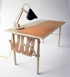 Leather, wood and linen table by David Ericsson.