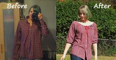 Refashion Co-op: Pleasant Plaid Peasant Blouse Diy With Old Clothes, Make Your Own Clothes, Diy Clothes, Refashioned Clothes, Upcycled Clothing, Sewing Blouses, Shirt Refashion, Recycled Fashion, Peasant Blouse