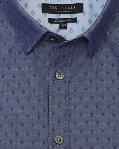 Jacquard cotton shirt - Navy | Shirts | Ted Baker