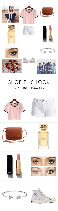 """""""Cheesecake With BTS!"""" by baekyeoltaekook ❤ liked on Polyvore featuring Barbour International, WithChic, Tory Burch, Chanel, Charlotte Tilbury, Bling Jewelry and Converse"""