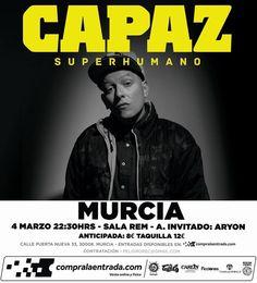 Mañana nos vemos en Murcia abriendo la gira de conciertos de #Superhumano en directo.  #capazenconcierto #superhumanolive #salarem #capaz #djsin #bighozone #murcia #rap #hiphop #rapespañol #hiphopespañol #musica