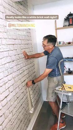 Brick Accent Walls, White Brick Walls, Exposed Brick Walls, Fake Brick Wall, Brick Wall Bedroom, Wall Design, House Design, Salon Interior Design, Brick Wallpaper