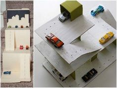 How to Make Simple Toys Using Recycled Materials Found at Home - Cardboard parking lot Cardboard Crafts Kids, Cardboard Car, Recycled Toys, Recycled Materials, Crafts To Do, Diy Crafts For Kids, Craft Ideas, Diy Barbie Furniture, How To Make Toys