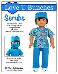 Scrubs Outfit 18 inch Doll Clothes Pattern PDF - Love U Bunches   Pixie Faire