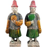 Pair of high quality Chinese Ming pottery figures