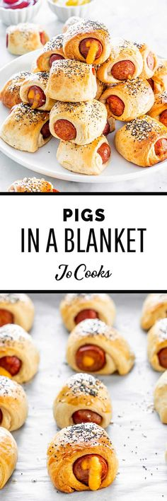 These Pigs In A Blanket are a classic appetizer or snack that everyone can enjoy! Delicious bite-sized cocktail smokies wrapped in a tender flaky dough. Sausage Appetizers, Best Appetizers, Appetizer Recipes, Snack Recipes, Bhg Recipes, Light Recipes, Cooking Recipes, Holiday Recipes, Pigs