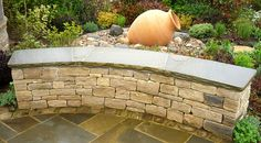 Terrace Design, Garden Design, Coping Stone, Purbeck Stone, Reading Berkshire, York Stone, Crazy Paving, Curved Walls, Patio Wall