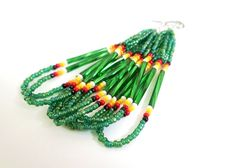 Green Dangly Beaded Earrings