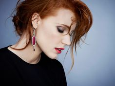 Jessica Chastain, photographed by James White for Piaget, 2015...love the smokey eye and soft red lip !