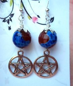Pentacle and Translucent Brown Agate Earrings Pagan Wicca