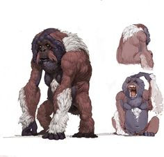 There are many guesses as to the form of the mythical Sasquatch, this is one. Fortunately, the beast is a myth, and little more need be worried about it. Monster Concept Art, Fantasy Monster, Monster Art, Mythical Creatures Art, Alien Creatures, Fantasy Creatures, Creature Feature, Creature Design, Fantasy Beasts