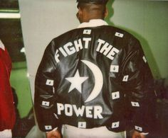 "Custom-made ""Fight The Power"" leather bomber from 1988 