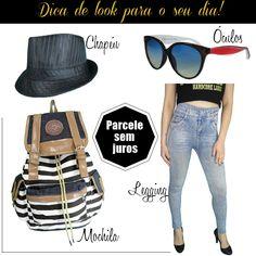 Look do Dia #spbolsas. Veja nossas dicas! Preço baixo e muita qualidade. Monte seu look:   #mochilas #femininas #bolsas #óculosdesol #oculos #sol #chapéu #fedora #panama #samba #calças #calça #legging #jeans #escolar #trabalho #faculdade #moda #estilo #dica #look #dia #comprar