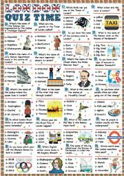 London-Quiz time (Key included) - ESL worksheet by Katiana Games To Learn English, English Games, English Activities, Vocabulary Worksheets, English Vocabulary, English Grammar, Teaching English, English Day, English Quiz