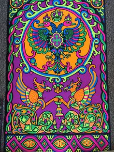Third Eye True Vintage Eagle and Griffin Black Light Poster 1969
