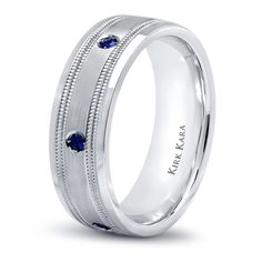 Sapphire Wedding Band; Match with your other half for a True Sapphire Love Story!  Kirk Kara SS6985MS-B