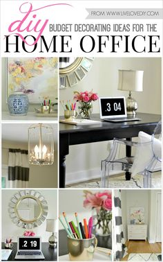 DIY budget decorating ideas for the home office. Love the striped curtains and gold leaf art!