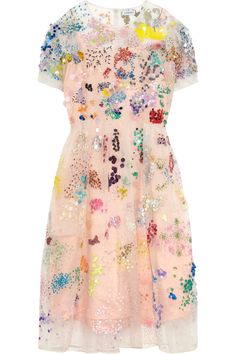 Ashish Embellished Silk-organza Dress - Off-white - ShopStyle White Beaded Dress, Pink Sequin Dress, Embellished Dress, Sheer Dress, Dress Up, White Dress, Organza Dress, Silk Organza, Fiestas Party