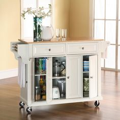 Crosley Natural Wood Top Rolling Kitchen Cart/island