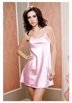 Womens Pink Satin Mini Chemise Pajamas