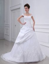 A-line Beaded Applique Satin Wedding Dress - $185.99