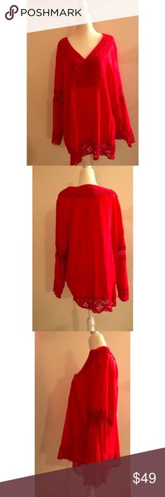 NWOT Red Long Sleeve Indian Inspired Bohemian Top Preface: the mannequin is 6-8.   This is a NWOT top. I removed the tags, but never wore this. I love the uniqueness of this top and its 1970s bohemian flair! I also love its Indian inspiration too. ROSE & THYME Tops Tunics