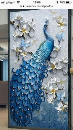 Awayyang Lucky bird DIY Crystals Paint Kit Diamond Painting By Number Kits,Peacock and flower Peacock Wall Art, Peacock Painting, Peacock Decor, Peacock Butterfly, Peacock Wallpaper, Peacock Design, Peacock Blue, Peacock Quilling, Peacock Colors