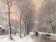 Louis Apol - Winterlandschap met ondergaande zon (1)