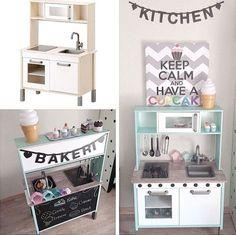Mommo design: ikea hacks for kids Ikea Toy Kitchen Hack, Ikea Hack Kids, Ikea Kids Room, Ikea Hacks, Kids Bedroom, Ikea Duktig, Ikea Nursery, Deco Kids, Toy Rooms