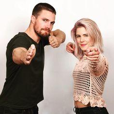 #Arrow  Stephen Amell(Oliver) & Emily Bett Rickards(Felicity)