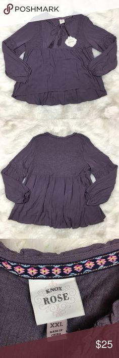 157c5cb0c32 Knox Rose Peasant Blouse XXL Plus Size Top Size 2X Plus size Purple Front  tie Lace