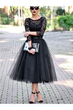 dresswe.com Offers High Quality Vintage A Line 3/4 Sleeve Lace Tea Length Evening Party Dress,Priced At Only US$102.59