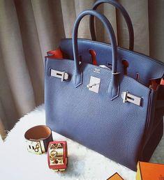 9dcfb6081f1 Hermes 30cm BirkinBleu Nuit inner orange poppy Price  Please contact us  Material  Togo leather. Hermes BirkinHermes BagsHermes ...