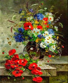 By Eugene Henri Cauchois.  I think this is one of Mr Cauchois' most beautiful flower paintings.