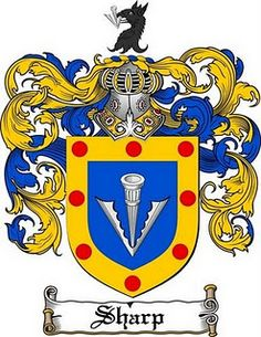 Sharp Family Crest / Sharp Coat of Arms Tartan, Family Shield, Armadura Medieval, Arm Art, Flag Signs, Family Crest, European History, Crests, Buy Prints