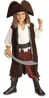 Yarn Babies Caribbean Pirate - child's small Rubie's Costume Co. $20.24. From the Manufacturer                Costume includes: hat with attached yarn hair, jumpsuit with attached vest, belt and boot tops.                                    Product Description                This Child Caribbean Pirate Costume is a dashingly detailed pirate outfit! The crowning glory is a brown tri-corn hat with gold trim and attached yarn hair with beads, just like Captain Jack. This petit...