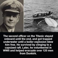Charles Lightoller, Titanic's officer. Unsure abt this claim of being blown out of ship, but he certainly did survive Titanic & was an admirable man throughout his life. Retro Humor, The More You Know, Good To Know, Be My Hero, Rms Titanic, Titanic Sinking, Titanic Ship, Titanic Movie, Wtf Fun Facts