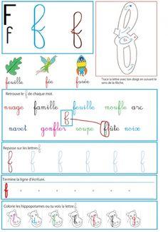 Page d'activité du f pour le livre GS / CP sur les minuscules