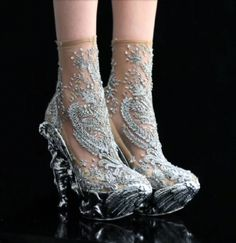 Alexander McQueen angel heels! Shoes that look like your feet are wrapped in soft snow flakes & feathery angel wings. Beautiful!