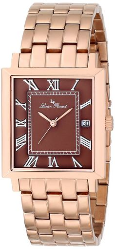 Lucien Piccard Men's LP-10501-RG-44 Bianco Brown Dial Rose Gold Ion-Plated Stainless Steel Watch *** To view further for this watch, visit the image link.