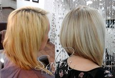 Before and after hair color and cut by Becky @ Salon Fusion.  #color #hair #hilights #haircut #salonfusionohio