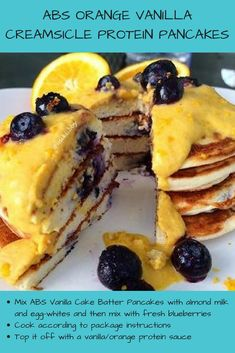 You heard that correctly: Orange Vanilla Creamsicle 🍊 + pancakes 👊🏽 + protein 💪🏽. Clearly, they're not your typical stack of pancakes! 😜 Click the image to buy your ABS Pancakes mix today! High Protein Low Carb, High Protein Recipes, Cake Batter Pancakes, Protein Meal Replacement, Blueberry Topping, Protein Waffles, Pancake Stack, Waffle Recipes, Vanilla