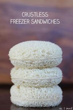 Crustless Freezer Sandwiches by Number 2 Pencil - Skip To My Lou (Chase loves uncrustables, so these are great! Freezer Sandwiches, Sandwich Recipes, Baby Food Recipes, Snack Recipes, Cooking Recipes, Cooking Tips, Kid Recipes, Road Trip Snacks, Lunch Snacks