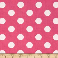"""Riley Blake 108"""" Wide Medium Dots Pink from @fabricdotcom  Designed for Riley Blake Fabrics, this 108'' wide quilt backing is perfect for adding just the right finishing touch to your quilts as well as duvets, pillows, dust ruffles, light curtains and more! Colors include pink and white."""